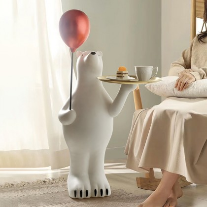 Creative Light Luxury Polar Bear Tray Floor Decoration Living Room
